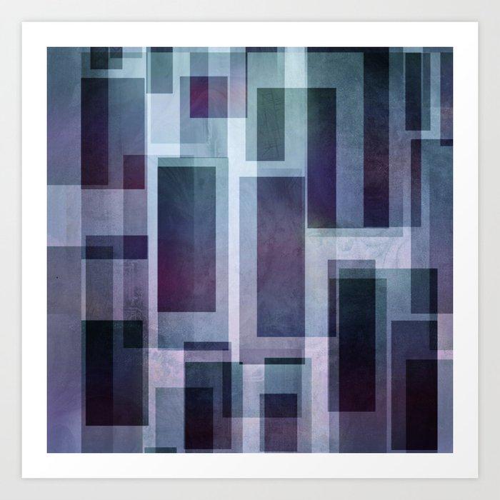 Cyan and Lavender Metro I Geometric Abstract Art Print