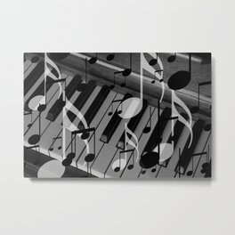 music notes white black piano keys Metal Print
