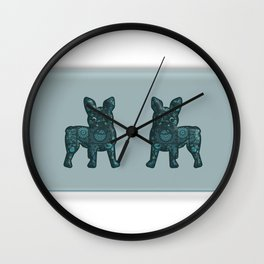 Patches French Bulldog Twins Wall Clock