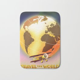 Travel The World Vintage style travel poster Bath Mat