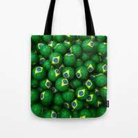 brazil Tote Bags featuring BRAZIL FOOTBALLS by AMULET