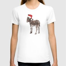 Christmas Baby Donkey White SMALL Womens Fitted Tee