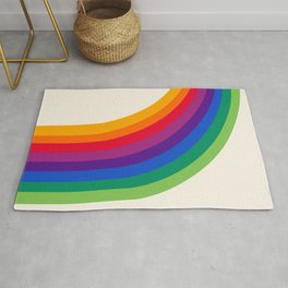 Groovy - rainbow 70s 1970s style retro throwback minimal happy hippie art decor Rug