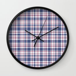 The checkered pattern . Scottish . Blue, red ,white . Wall Clock