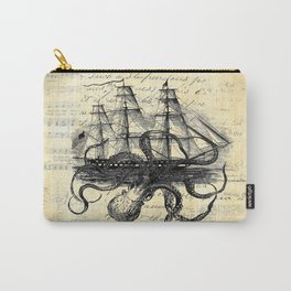Kraken Octopus Attacking Ship Multi Collage Background Carry-All Pouch