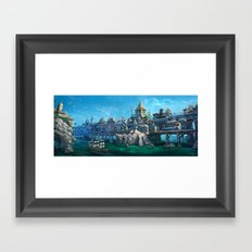 -City on the Big Bridge- Framed Art Print