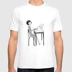 Typewriter SMALL White Mens Fitted Tee
