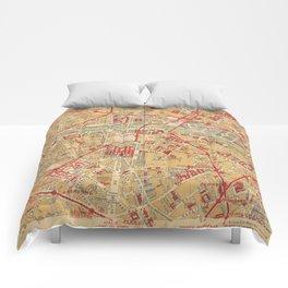 Paris City Centre Map - Vintage Full Color Comforters