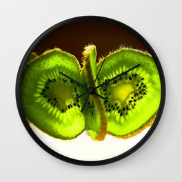 Bright Slices of Kiwi Fruit Abstract Wall Clock