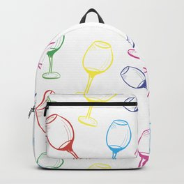 Print with wine glasses. Drawn colored wine glasses on white. Multicolor Backpack