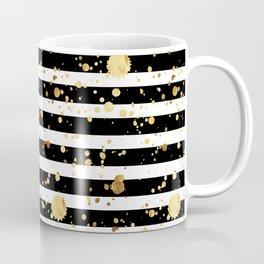 Stripes & Gold Splatter - Horizontal Coffee Mug