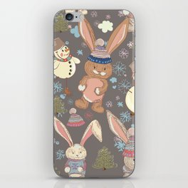 6)	Christmas cute illustration with bunny and snowmen. Winter design illustration iPhone Skin