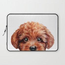 Toy poodle red brown Dog illustration original painting print Laptop Sleeve