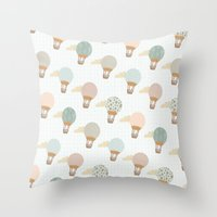 baloon Throw Pillows featuring baloon collage pattern  by flying bathtub