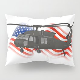 Patriotic Black Hawk UH-60 Military Helicopter Pillow Sham