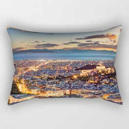 Athens after sunset with a view of the Parthenon on the Acropolis, the Parliament and the Saronic islands in Greece Rectangular Pillow