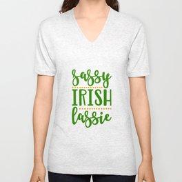 Sassy Irish Lassie St Patricks Day Ireland Woman Unisex V-Neck
