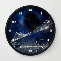 new york city Wall Clocks featuring New!! New York City by Simone Gatterwe