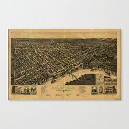 Vintage Pictorial Map of Selma Alabama (1887) Canvas Print