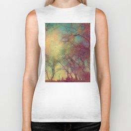 Tree Silhouette, Autumn Sunset Biker Tank