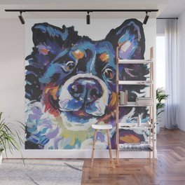 Berner Bernese Mountain Dog Portrait Pop Art painting by Lea Wall Mural