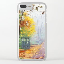 Tardis With Scenery Abstract Clear iPhone Case