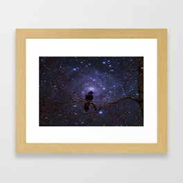 Black crow in moonlight Framed Art Print