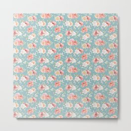 Pastel pink coral green watercolor floral pattern Metal Print