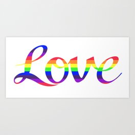 Love Script Rainbow Color Stripes Art Print