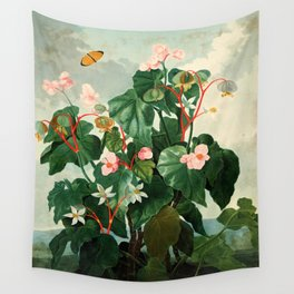 Pink Floral The Oblique-Leaved Begonias : Temple of Flora Wall Tapestry