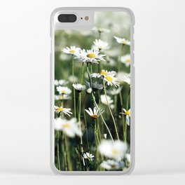 White Summer Daisies Flowers Clear iPhone Case