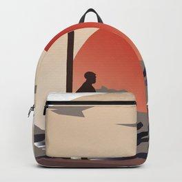 Surf sunset art Backpack