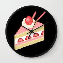 Pixel Strawberry Cake Wall Clock