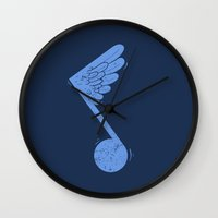 death note Wall Clocks featuring Flying Note by micheleficeli