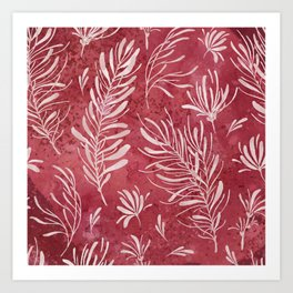 Modern abstract watercolor burgundy red blush pink leaves  Art Print