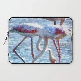 Flamingos Eating Watercolor Laptop Sleeve