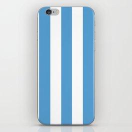 Carolina blue - solid color - white vertical lines pattern iPhone Skin