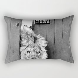 Beware of Dog black and white photograph of attack lion humorous black and white photography Rectangular Pillow