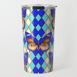ARGYLE ABSTRACTED  BROWN SPICE  MONARCHS BUTTERFLY & BLUE-WHITE Travel Mug