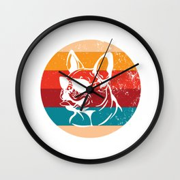 Vintage French Bulldog Lover Retro Dog Breed Silhouette Gift Wall Clock
