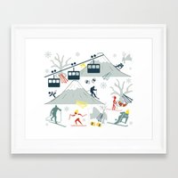 ski Framed Art Prints featuring SKI LIFTS by BLUE VELVET DESIGNS