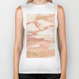 Marble - Rose Gold Shimmer Marble with Yellow Gold Glitter Biker Tank