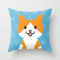 Happy Cat Throw Pillow