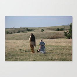 Native American and young pioneer girl Canvas Print