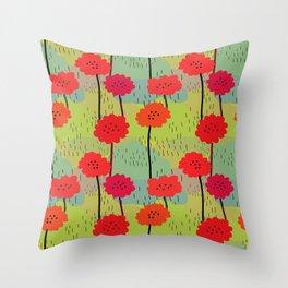 Fiori allegri stilizzati Throw Pillow