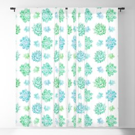 Trendy modern turquoise teal cute cactus pattern Blackout Curtain