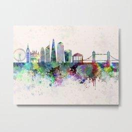 London V2 skyline in watercolor background Metal Print