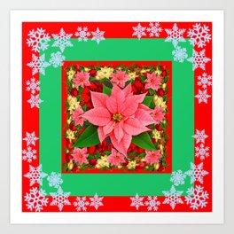 DECORATIVE SNOWFLAKES RED & PINK POINSETTIAS CHRISTMAS ART Art Print