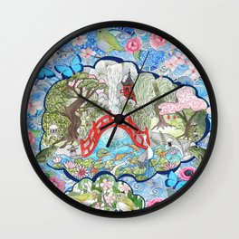 Japanese  Garden watercolor biophile paradise Wall Clock