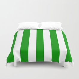 Islamic green - solid color - white vertical lines pattern Duvet Cover
